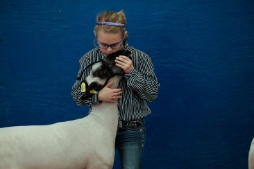 March -Girl with her show lamb