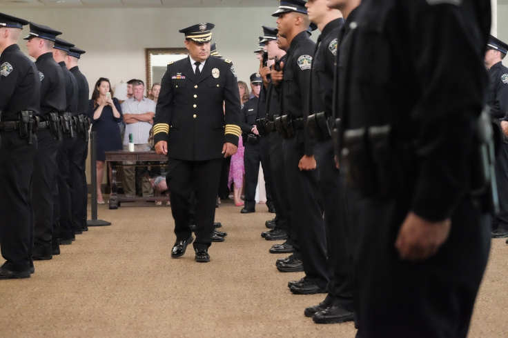 Mark Matson for American-Statesman ( 7/8/16) The Commencement Progarm for the 133rd Cadet Class of the Austin Police Training Academy was held Friday afternoon at Great Hills Baptist Church. Austin Department Chief Art Acevado inspected the cadets prior to the ceremony.