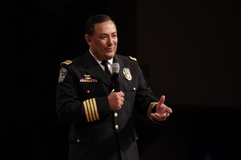 Mark Matson for American-Statesman ( 7/8/16) The Commencement Progarm for the 133rd Cadet Class of the Austin Police Training Academy was held Friday afternoon at Great Hills Baptist Church. Police Chief Art Acevedo gives the address to the graduates.