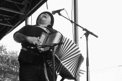 Los TexManiacs and special guest star Flaco Jimenez performed Friday eveing at the Bullock Museum as part of the Music Under the Star series. Accordian player Josh Baca gave a rousing performance. Photo by Mark Matson ( 7/15/16)